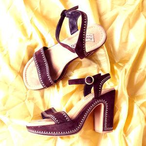 Skechers Suede Boho Platform Sandals High Heels